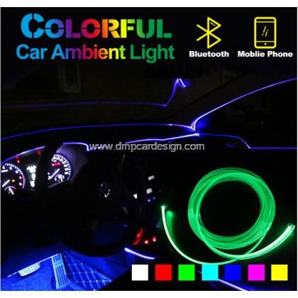 Ambient Light Car Atmosphere Light Lamp APP Control 64 colors DIY Soft Refit Optic Fiber Band For Ca