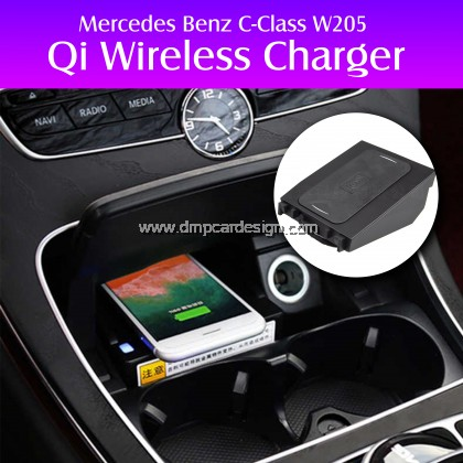 Wireless QI charger fast charging case plate phone holder for Mercedes Benz W205 C180 C200 GLC C Class for iPhone